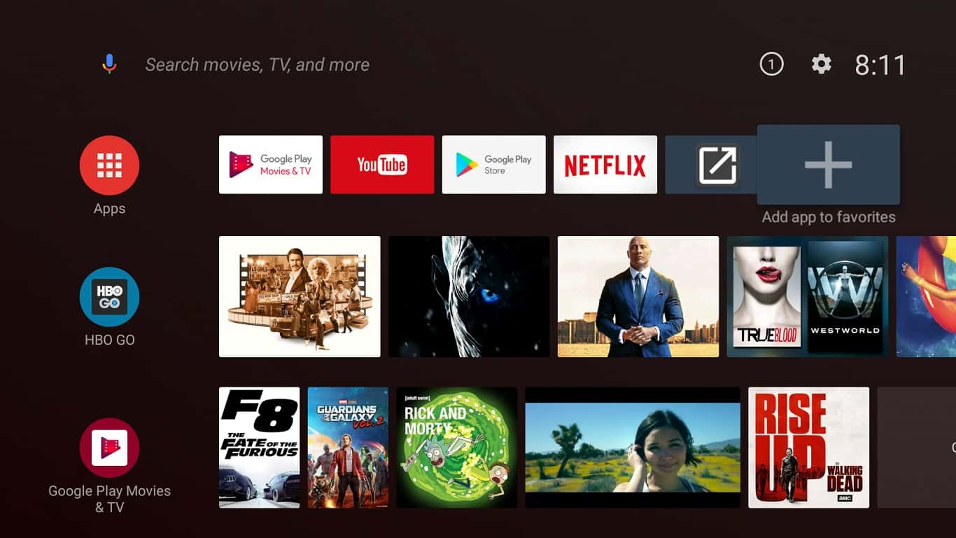 Android TV Oreo homescreen