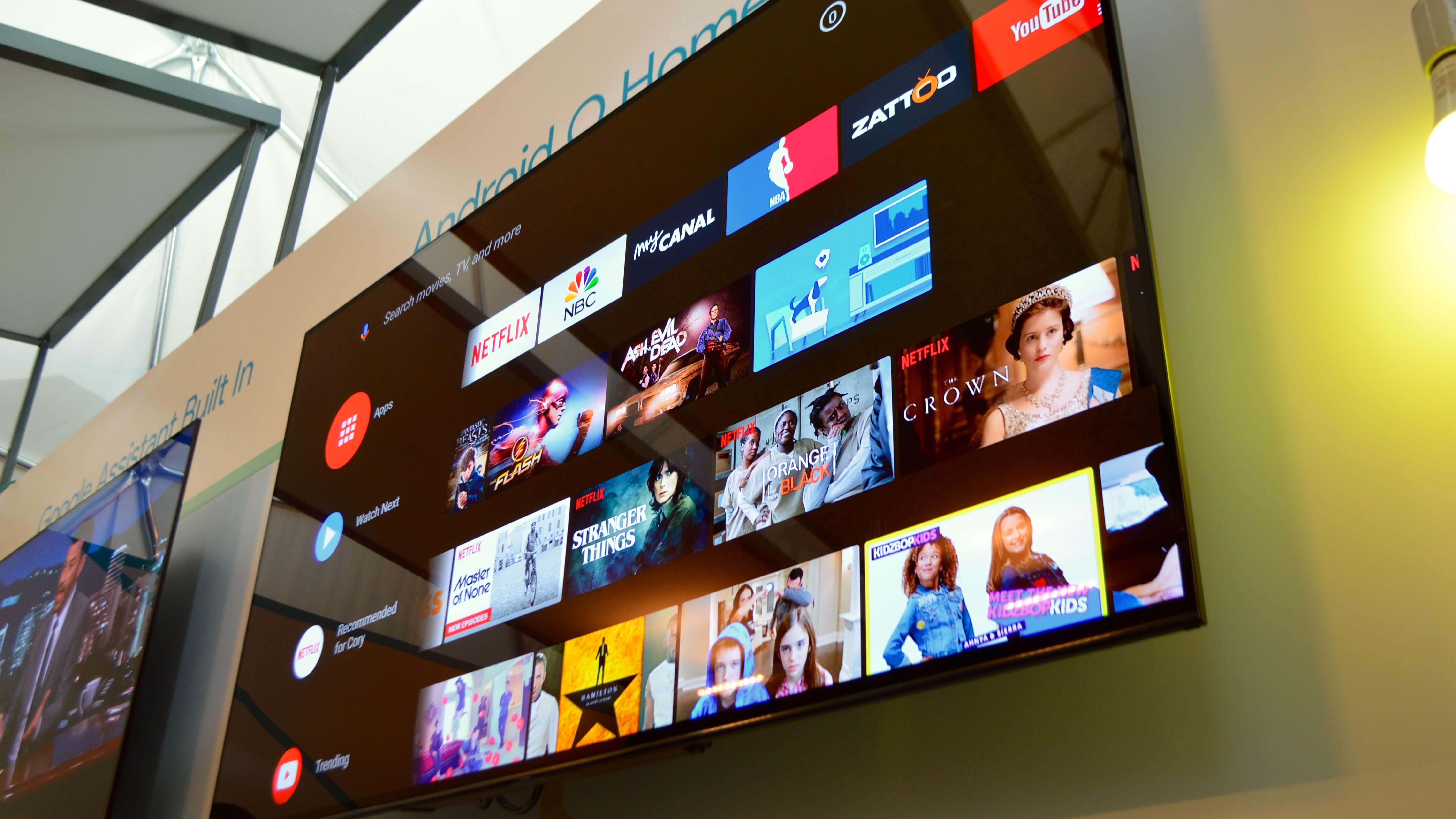 Android TV Oreo running on TV set